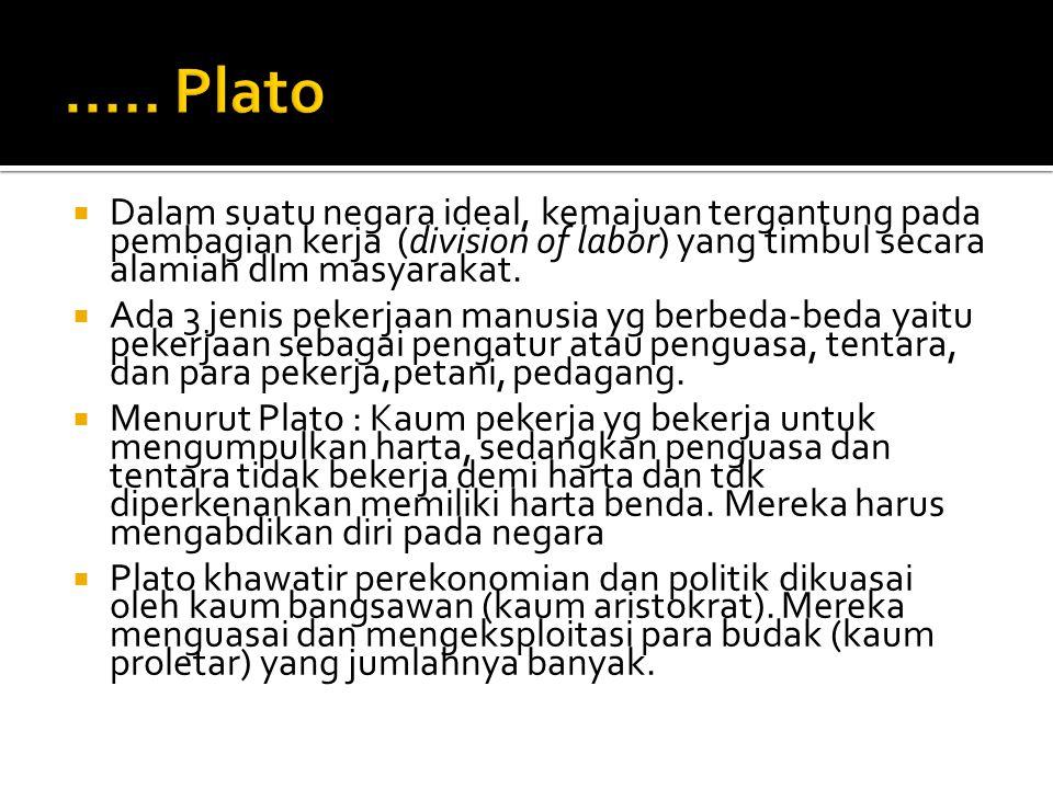 "1. PLATO (427 – 357 SM)  Sekitar 400 SM sudah ada pemikiran tentang uang, bunga, jasa tenaga kerja dan perdagangan.  Bukti : Buku ""Respublika"" oleh"