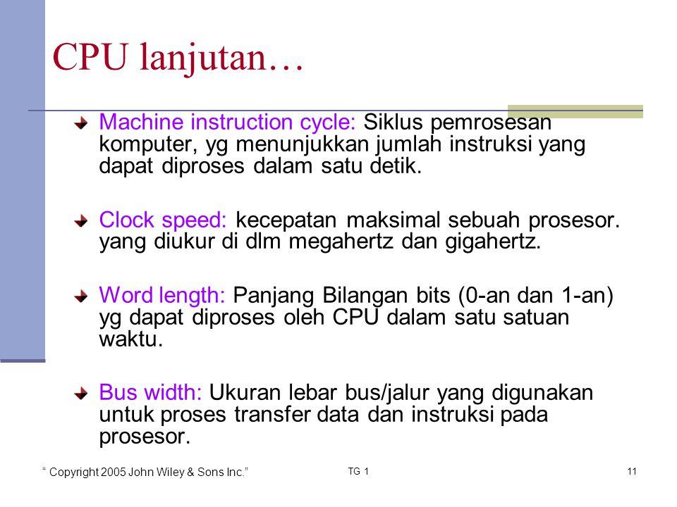 Copyright 2005 John Wiley & Sons Inc. TG 111 Machine instruction cycle: Siklus pemrosesan komputer, yg menunjukkan jumlah instruksi yang dapat diproses dalam satu detik.