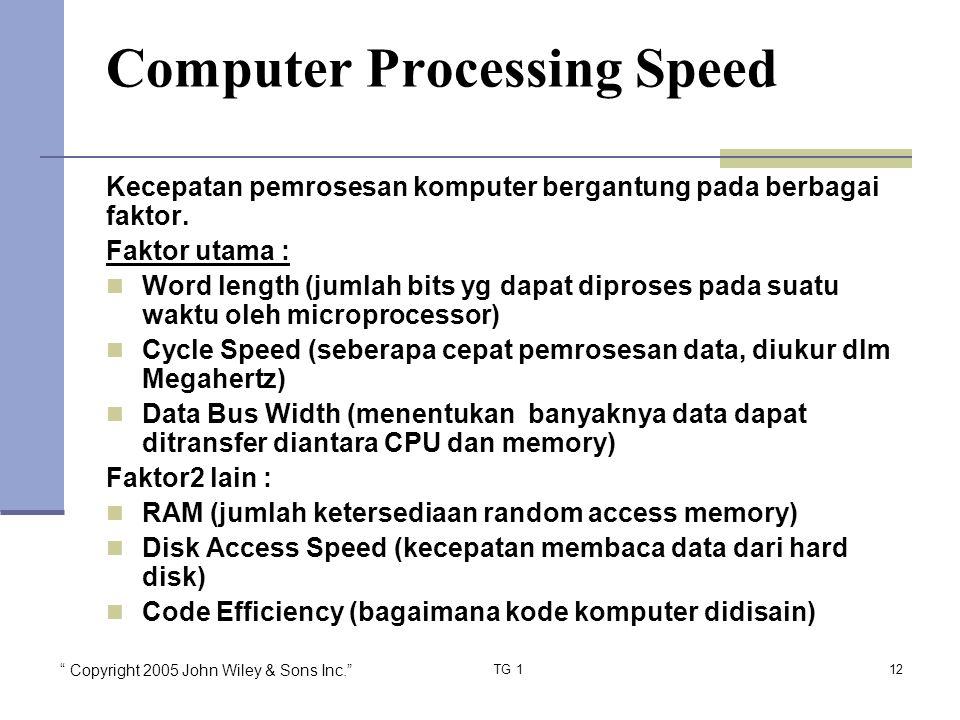 Copyright 2005 John Wiley & Sons Inc. TG 112 Computer Processing Speed Kecepatan pemrosesan komputer bergantung pada berbagai faktor.