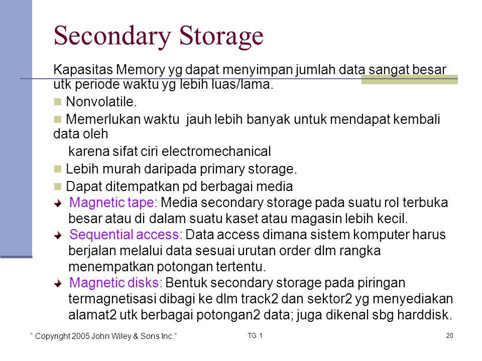 Copyright 2005 John Wiley & Sons Inc. TG 120 Secondary Storage Kapasitas Memory yg dapat menyimpan jumlah data sangat besar utk periode waktu yg lebih luas/lama.
