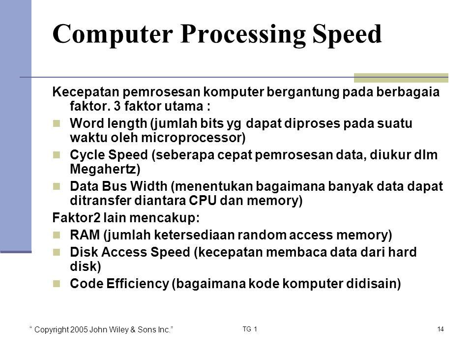 Copyright 2005 John Wiley & Sons Inc. TG 114 Computer Processing Speed Kecepatan pemrosesan komputer bergantung pada berbagaia faktor.