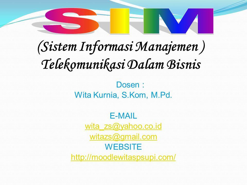 (Sistem Informasi Manajemen ) Telekomunikasi Dalam Bisnis Dosen : Wita Kurnia, S.Kom, M.Pd. E-MAIL wita_zs@yahoo.co.id witazs@gmail.com WEBSITE http:/