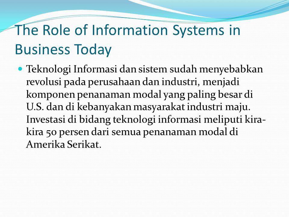 The Role of Information Systems in Business Today Teknologi Informasi dan sistem sudah menyebabkan revolusi pada perusahaan dan industri, menjadi komp