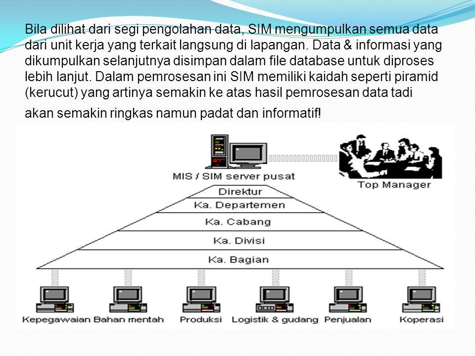 Bila dilihat dari segi pengolahan data, SIM mengumpulkan semua data dari unit kerja yang terkait langsung di lapangan. Data & informasi yang dikumpulk
