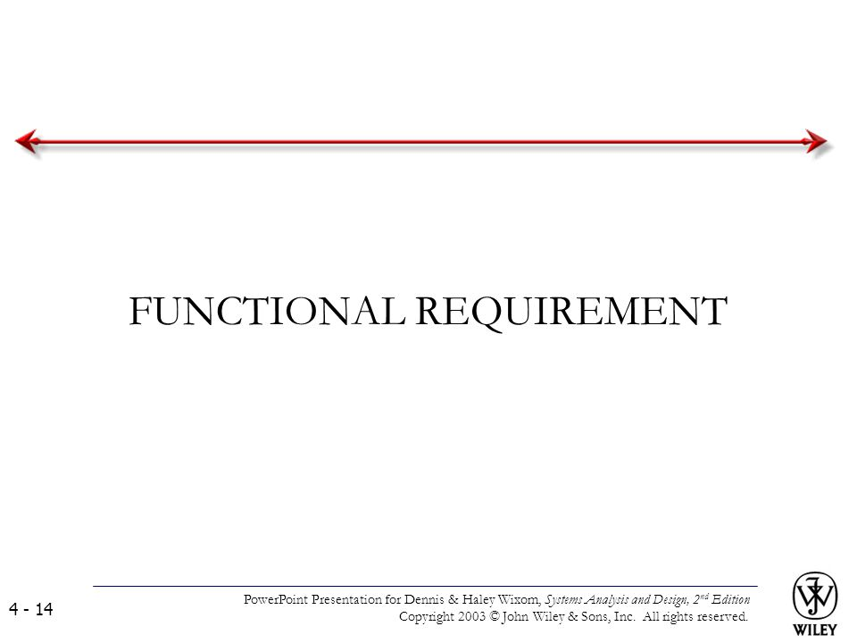 FUNCTIONAL REQUIREMENT PowerPoint Presentation for Dennis & Haley Wixom, Systems Analysis and Design, 2 nd Edition Copyright 2003 © John Wiley & Sons,