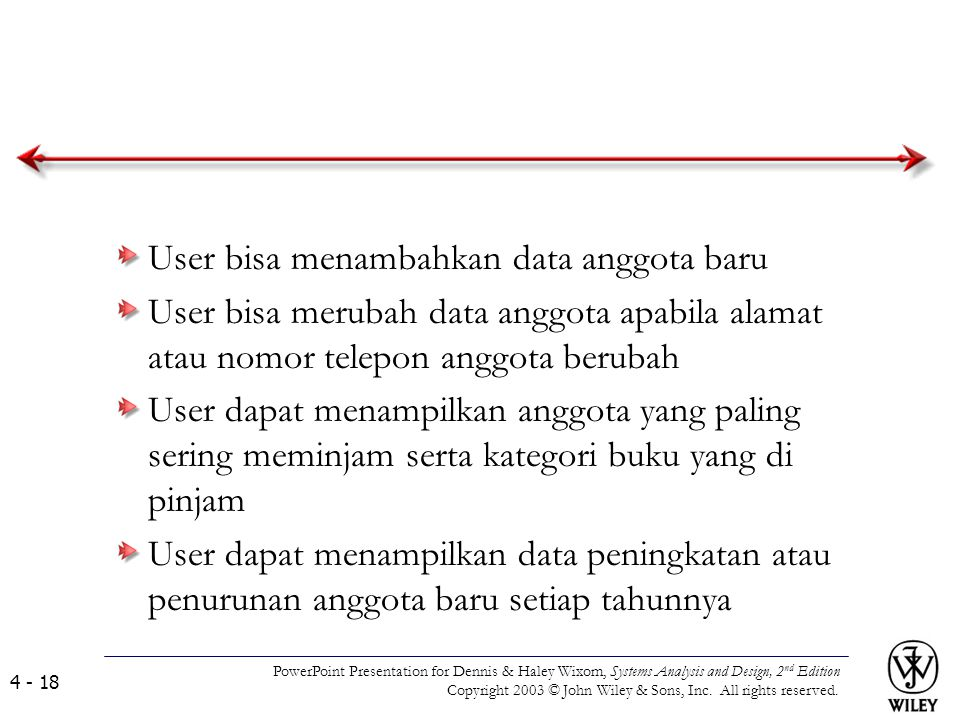 User bisa menambahkan data anggota baru User bisa merubah data anggota apabila alamat atau nomor telepon anggota berubah User dapat menampilkan anggot