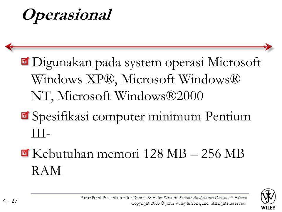 Operasional Digunakan pada system operasi Microsoft Windows XP®, Microsoft Windows® NT, Microsoft Windows®2000 Spesifikasi computer minimum Pentium II