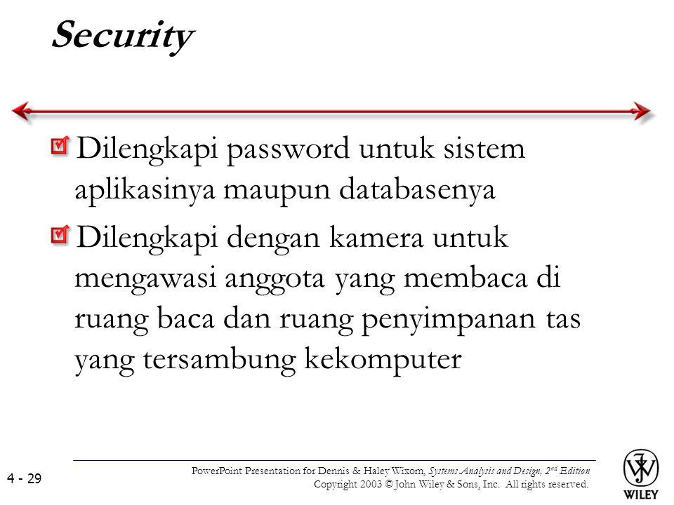 Security Dilengkapi password untuk sistem aplikasinya maupun databasenya Dilengkapi dengan kamera untuk mengawasi anggota yang membaca di ruang baca d