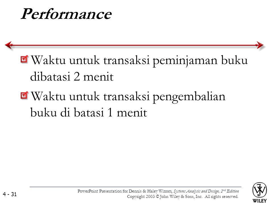Performance Waktu untuk transaksi peminjaman buku dibatasi 2 menit Waktu untuk transaksi pengembalian buku di batasi 1 menit PowerPoint Presentation f