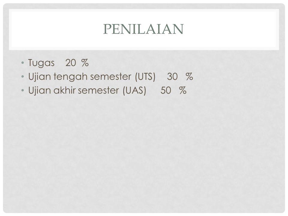 PENILAIAN Tugas 20 % Ujian tengah semester (UTS) 30 % Ujian akhir semester (UAS) 50 %