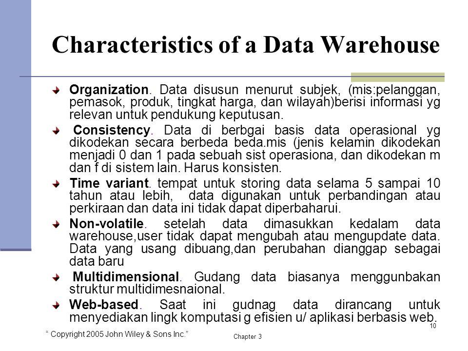 """"""" Copyright 2005 John Wiley & Sons Inc."""" Chapter 3 Characteristics of a Data Warehouse Organization. Data disusun menurut subjek, (mis:pelanggan, pema"""