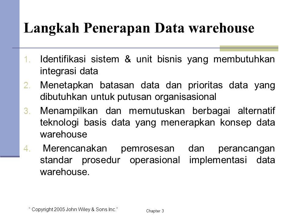 """"""" Copyright 2005 John Wiley & Sons Inc."""" Langkah Penerapan Data warehouse 1. Identifikasi sistem & unit bisnis yang membutuhkan integrasi data 2. Mene"""