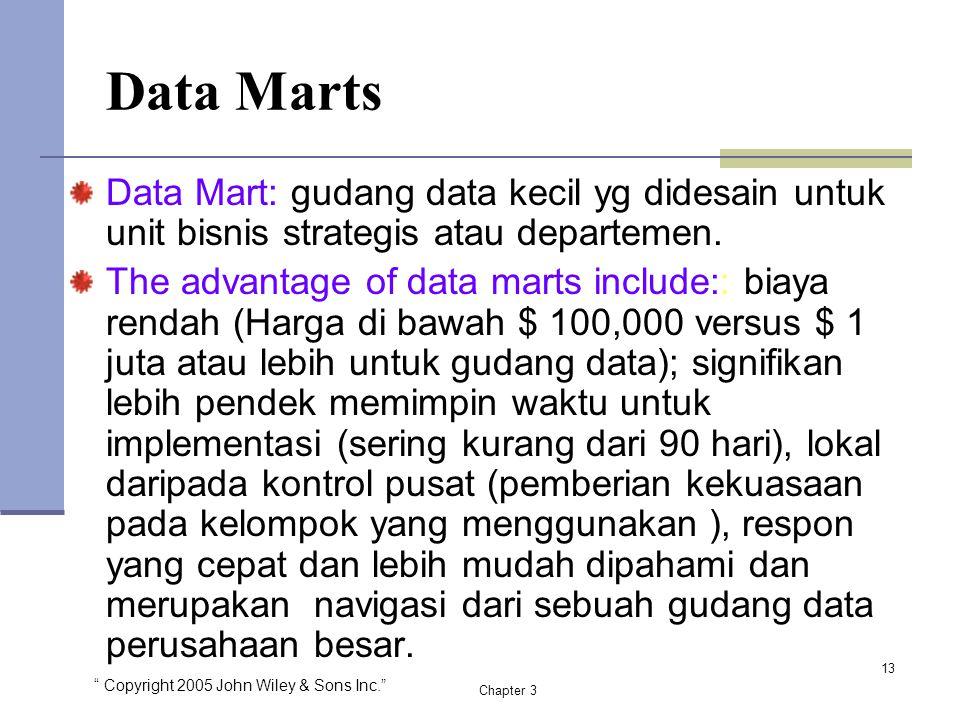 """"""" Copyright 2005 John Wiley & Sons Inc."""" Chapter 3 Data Marts Data Mart: gudang data kecil yg didesain untuk unit bisnis strategis atau departemen. Th"""
