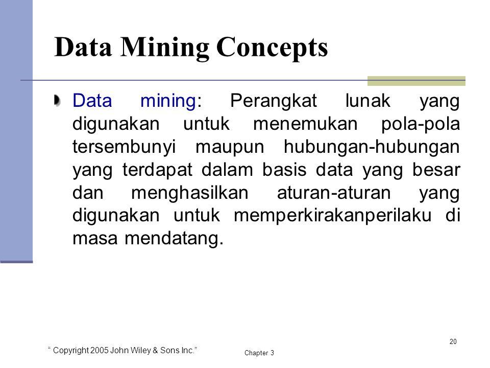 """ Copyright 2005 John Wiley & Sons Inc."" Chapter 3 Data Mining Concepts Data mining: Perangkat lunak yang digunakan untuk menemukan pola-pola tersembu"
