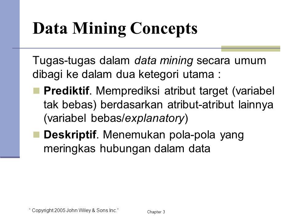 """"""" Copyright 2005 John Wiley & Sons Inc."""" Tugas-tugas dalam data mining secara umum dibagi ke dalam dua ketegori utama : Prediktif. Memprediksi atribut"""