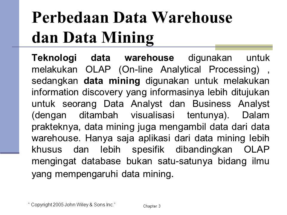 """ Copyright 2005 John Wiley & Sons Inc."" Perbedaan Data Warehouse dan Data Mining Teknologi data warehouse digunakan untuk melakukan OLAP (On-line Ana"