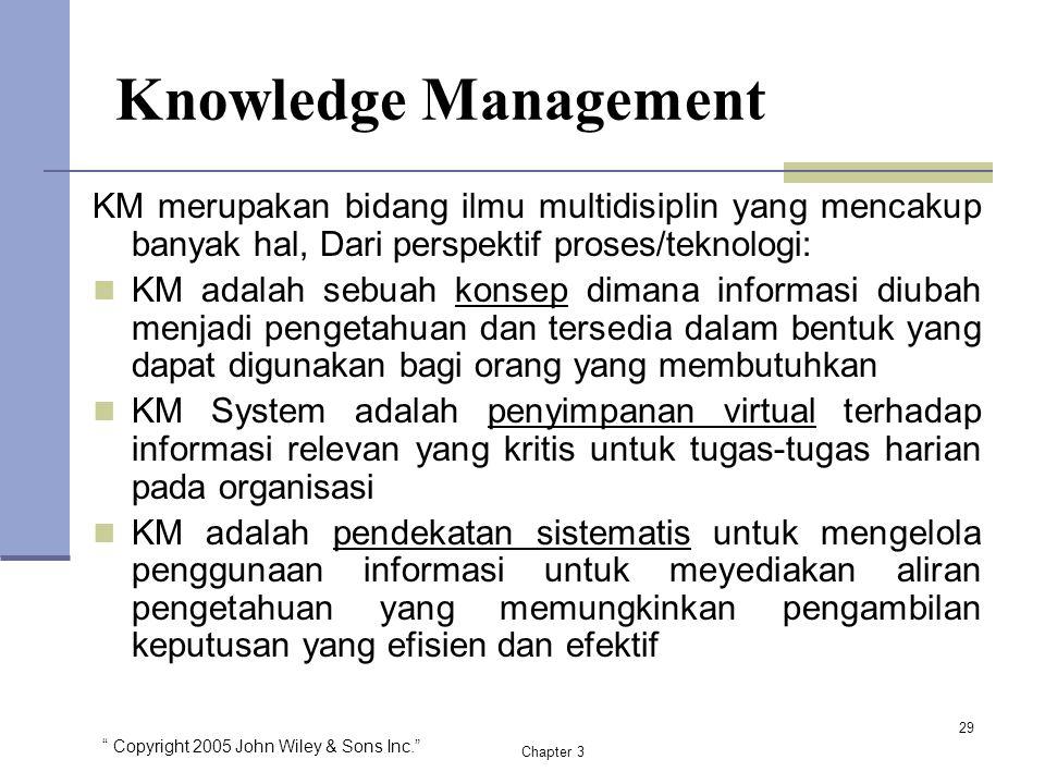 """"""" Copyright 2005 John Wiley & Sons Inc."""" Chapter 3 Knowledge Management 29 KM merupakan bidang ilmu multidisiplin yang mencakup banyak hal, Dari persp"""