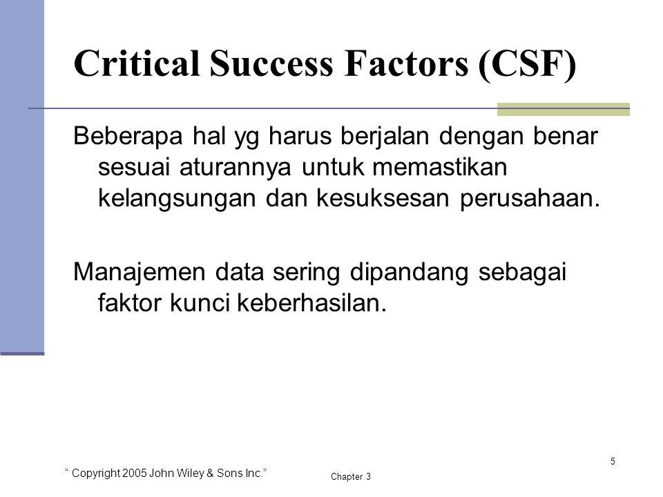 """"""" Copyright 2005 John Wiley & Sons Inc."""" Chapter 3 Critical Success Factors (CSF) Beberapa hal yg harus berjalan dengan benar sesuai aturannya untuk m"""