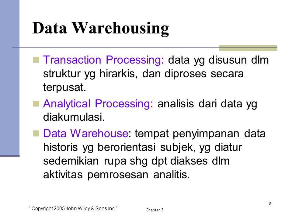 """ Copyright 2005 John Wiley & Sons Inc."" Chapter 3 Data Warehousing Transaction Processing: data yg disusun dlm struktur yg hirarkis, dan diproses sec"