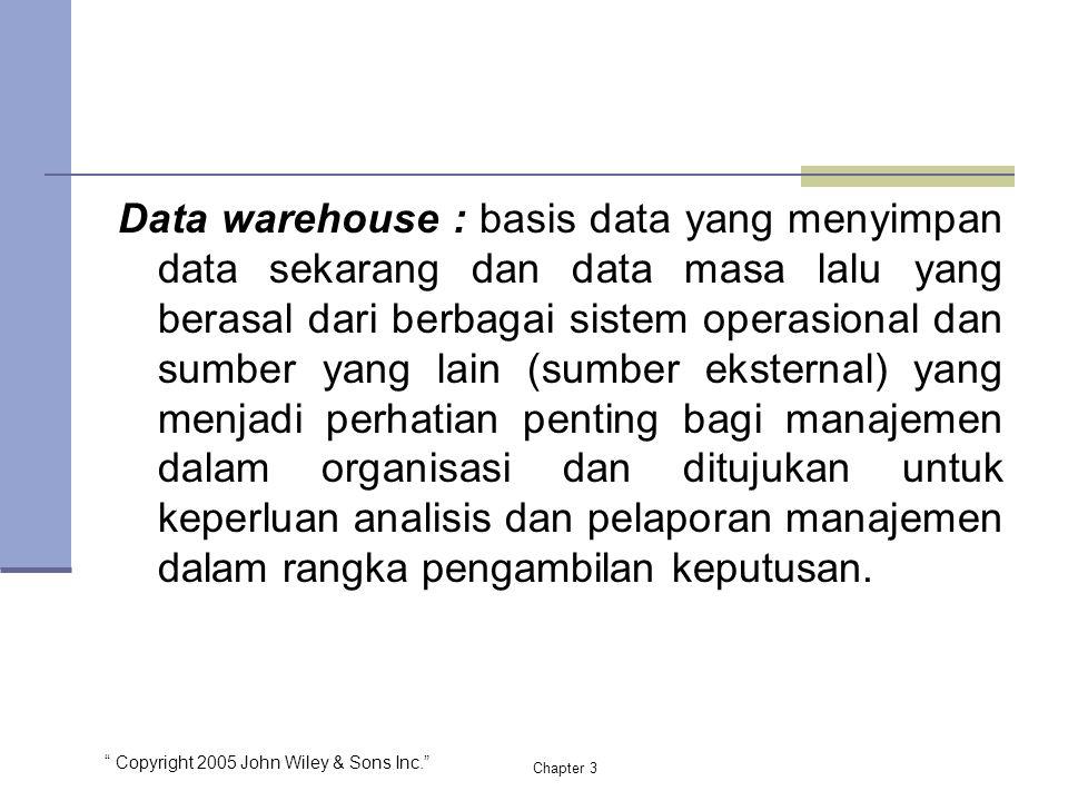 """ Copyright 2005 John Wiley & Sons Inc."" Chapter 3 Data warehouse : basis data yang menyimpan data sekarang dan data masa lalu yang berasal dari berba"