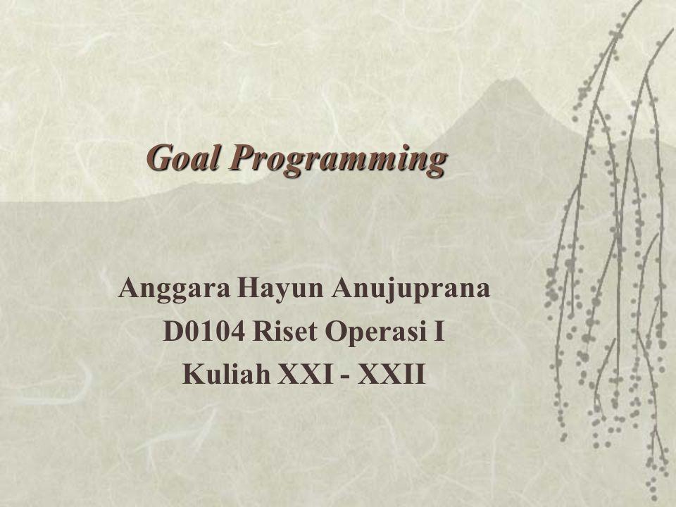 Goal Programming Anggara Hayun Anujuprana D0104 Riset Operasi I Kuliah XXI - XXII