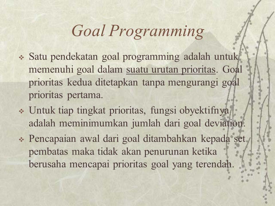 Goal Programming  Satu pendekatan goal programming adalah untuk memenuhi goal dalam suatu urutan prioritas.