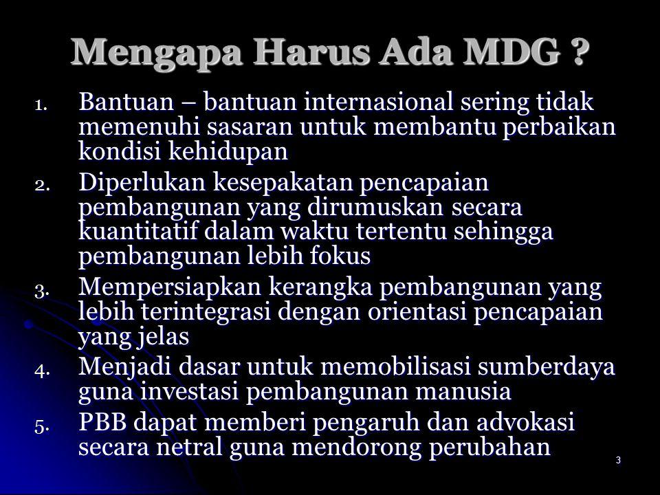 4MDGs Arah pembangunan yang disepakati secara global : Arah pembangunan yang disepakati secara global : 1.