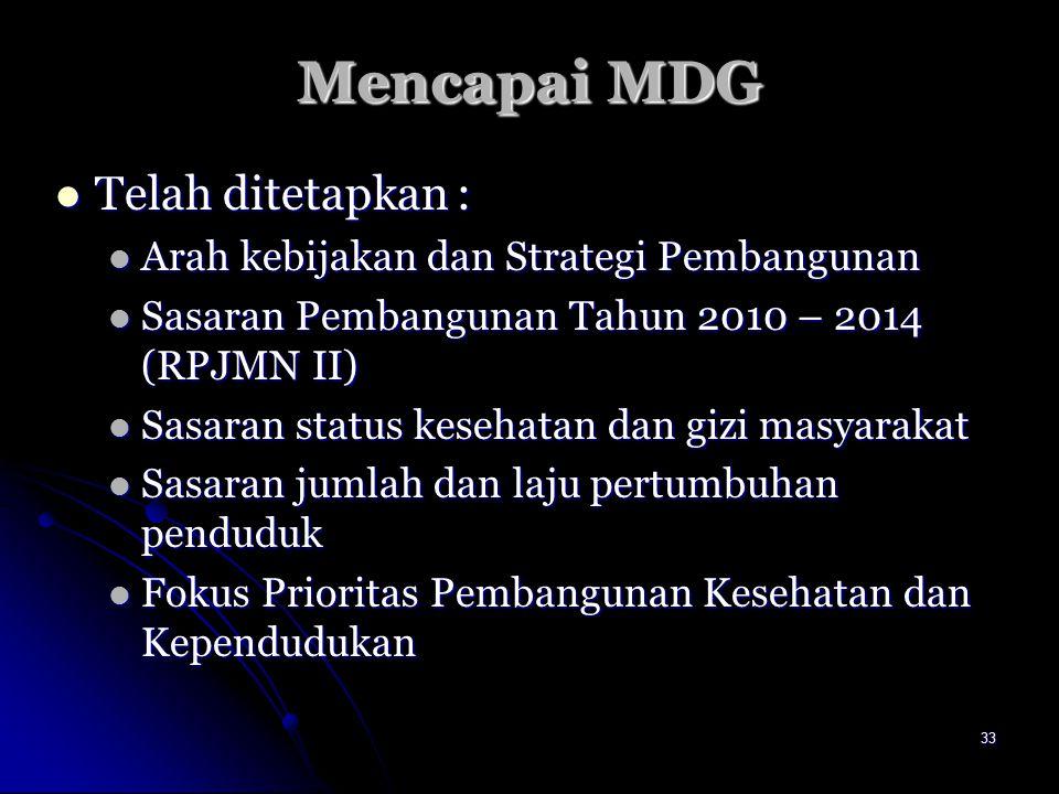 33 Mencapai MDG Telah ditetapkan : Telah ditetapkan : Arah kebijakan dan Strategi Pembangunan Arah kebijakan dan Strategi Pembangunan Sasaran Pembangu