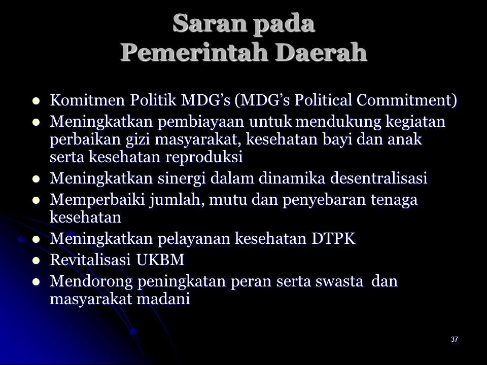 37 Saran pada Pemerintah Daerah Komitmen Politik MDG's (MDG's Political Commitment) Komitmen Politik MDG's (MDG's Political Commitment) Meningkatkan p