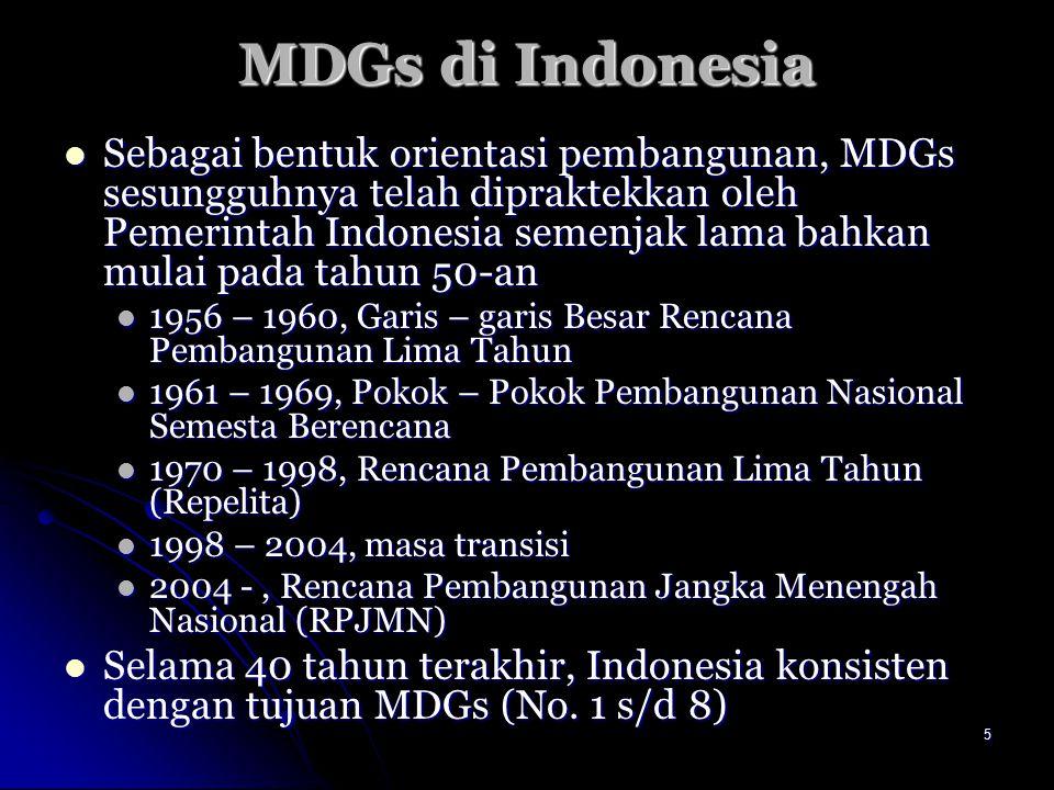 5 MDGs di Indonesia Sebagai bentuk orientasi pembangunan, MDGs sesungguhnya telah dipraktekkan oleh Pemerintah Indonesia semenjak lama bahkan mulai pa