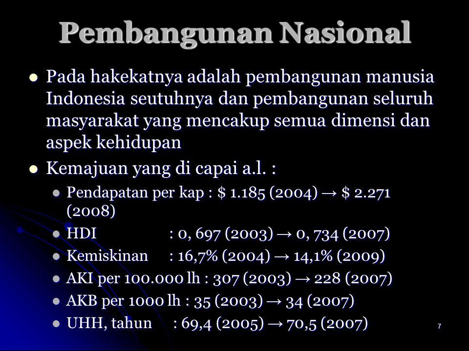 7 Pembangunan Nasional Pada hakekatnya adalah pembangunan manusia Indonesia seutuhnya dan pembangunan seluruh masyarakat yang mencakup semua dimensi d