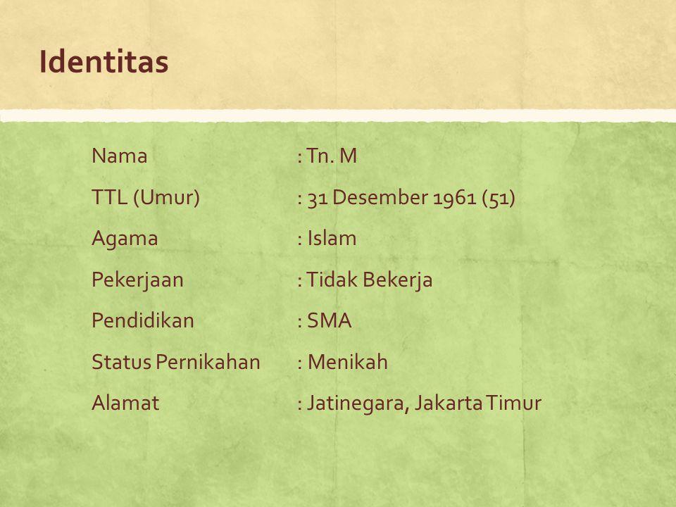 Identitas Nama: Tn. M TTL (Umur): 31 Desember 1961 (51) Agama: Islam Pekerjaan: Tidak Bekerja Pendidikan: SMA Status Pernikahan: Menikah Alamat: Jatin