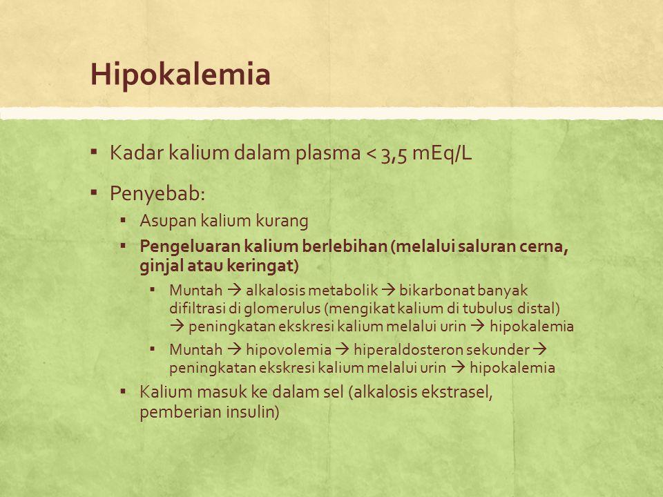 Hipokalemia ▪ Kadar kalium dalam plasma < 3,5 mEq/L ▪ Penyebab: ▪ Asupan kalium kurang ▪ Pengeluaran kalium berlebihan (melalui saluran cerna, ginjal