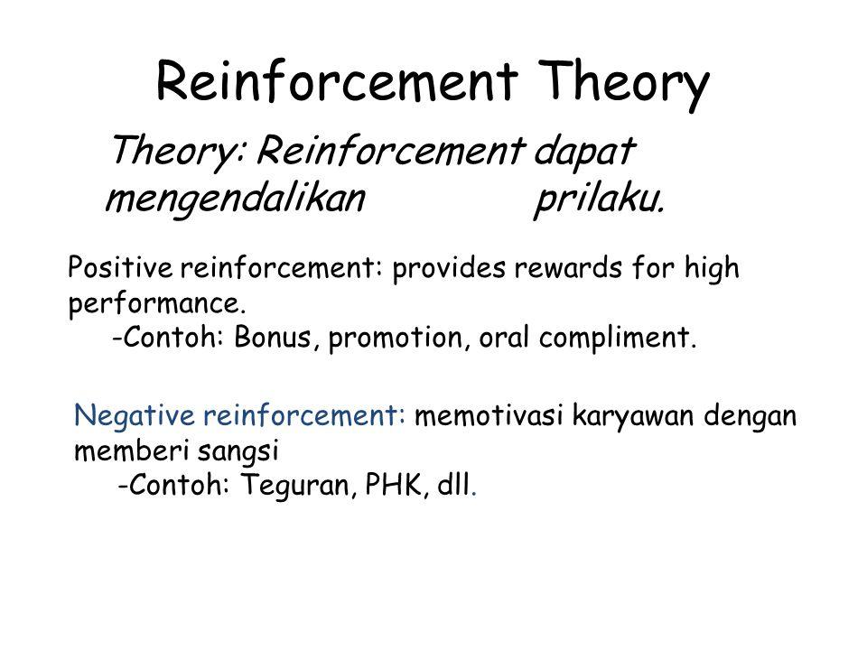 Reinforcement Theory Positive reinforcement: provides rewards for high performance. -Contoh: Bonus, promotion, oral compliment. Negative reinforcement