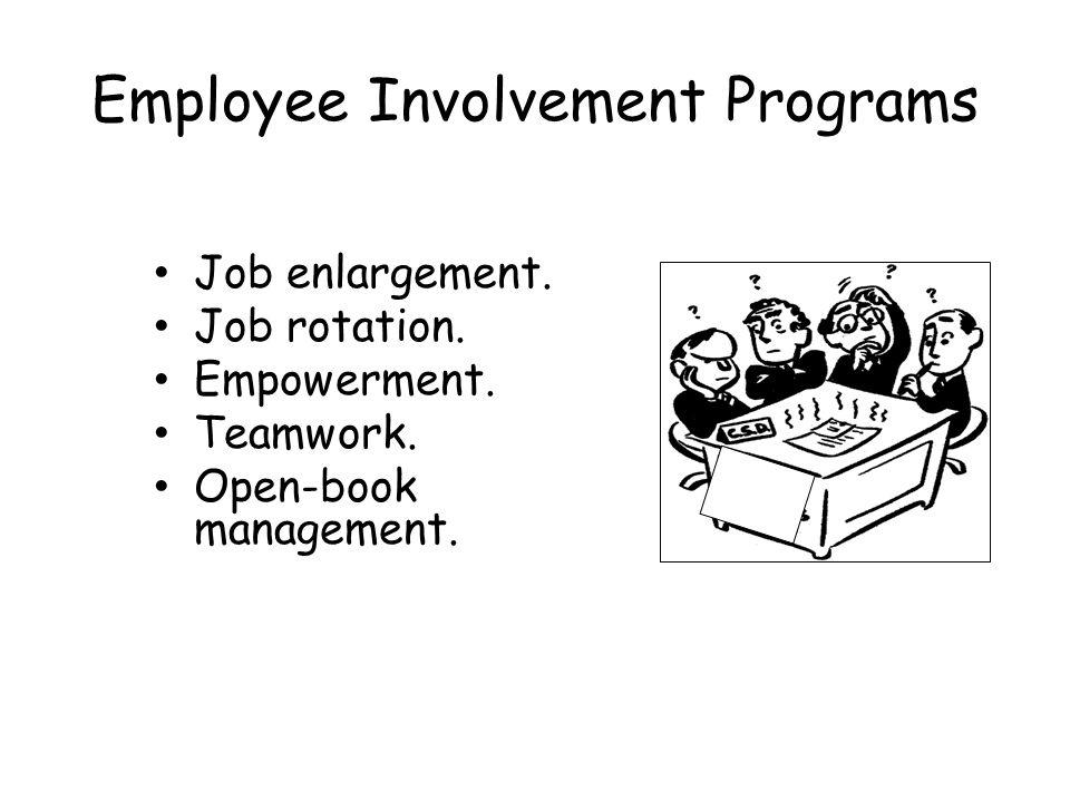 Employee Involvement Programs Job enlargement. Job rotation. Empowerment. Teamwork. Open-book management.