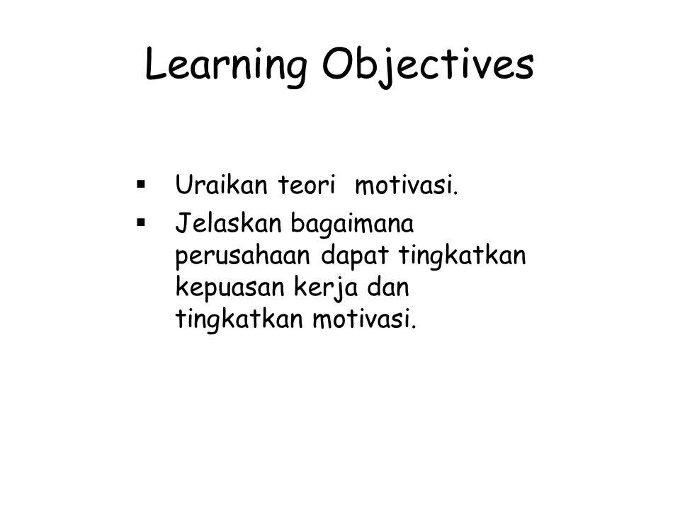Learning Objectives  Uraikan teori motivasi.  Jelaskan bagaimana perusahaan dapat tingkatkan kepuasan kerja dan tingkatkan motivasi.
