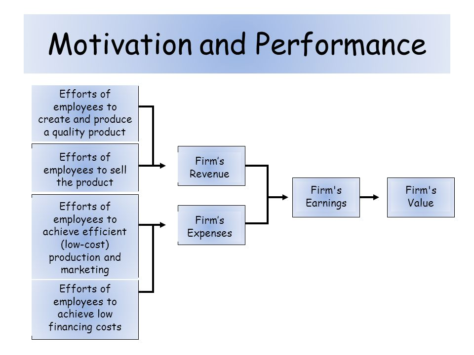 Motivation and Performance Efforts of employees to create and produce a quality product Firm's Expenses Firm's Earnings Firm's Value Firm's Revenue Ef