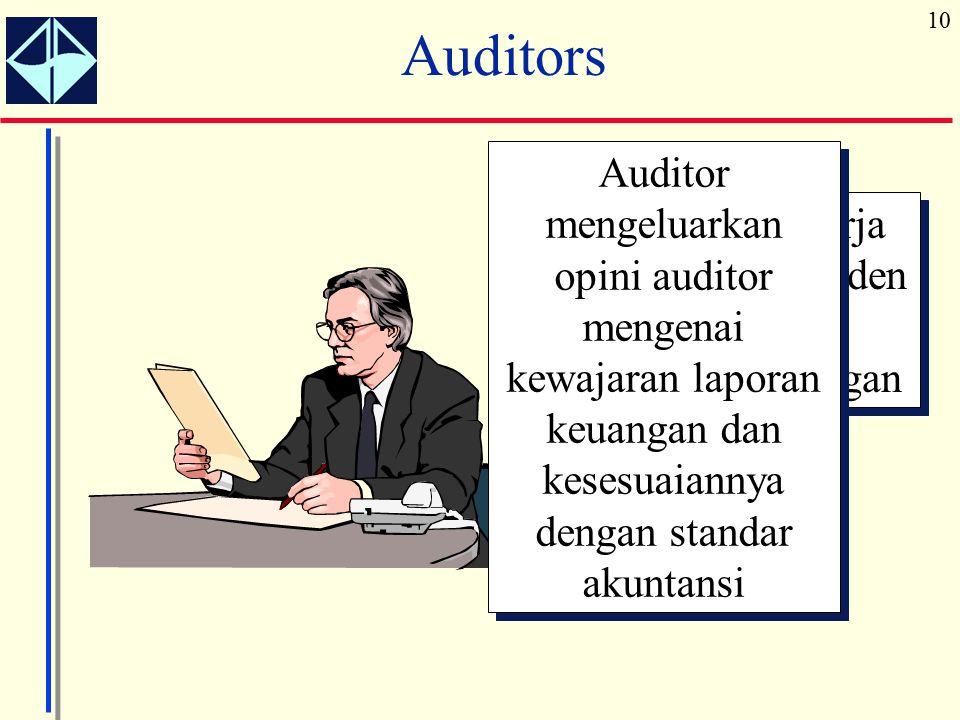 10 Auditors Auditor bekerja secara independen memeriksa laporan keuangan Auditor mengeluarkan opini auditor mengenai kewajaran laporan keuangan dan ke