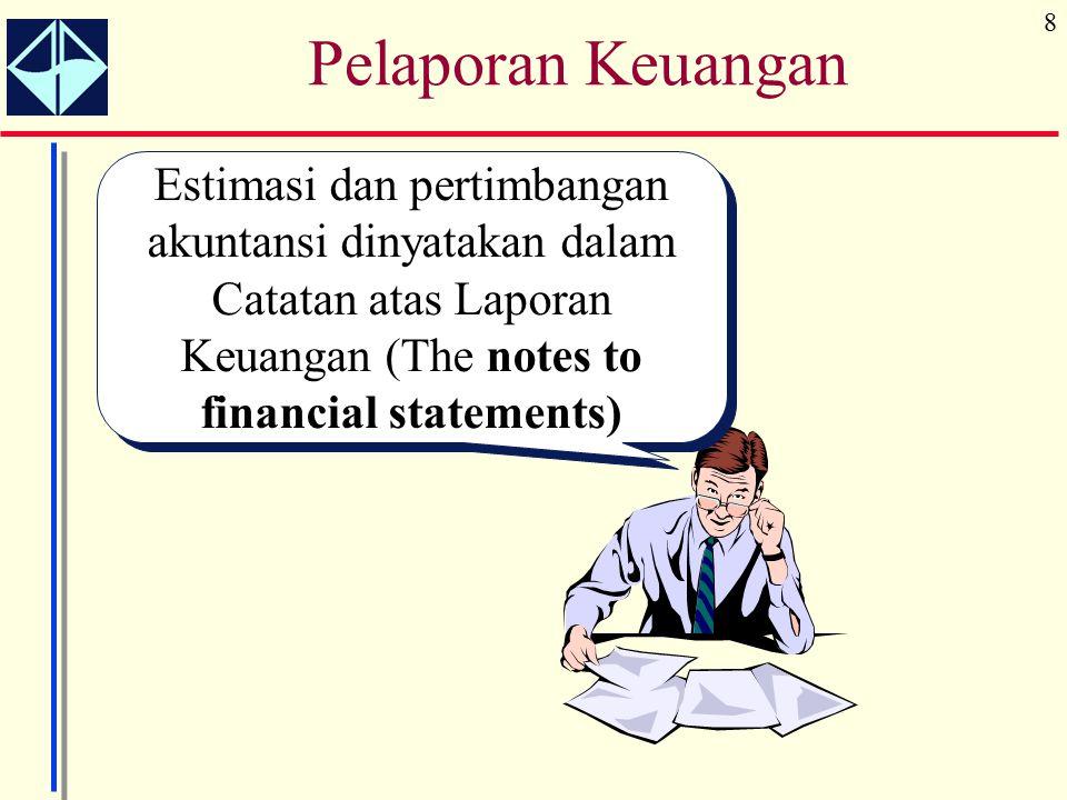 8 Estimasi dan pertimbangan akuntansi dinyatakan dalam Catatan atas Laporan Keuangan (The notes to financial statements) Pelaporan Keuangan