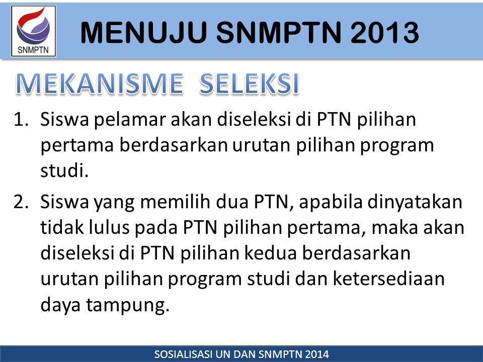 MENUJU SNMPTN 2013 SOSIALISASI UN DAN SNMPTN 2014 1.Siswa pelamar akan diseleksi di PTN pilihan pertama berdasarkan urutan pilihan program studi. 2.Si