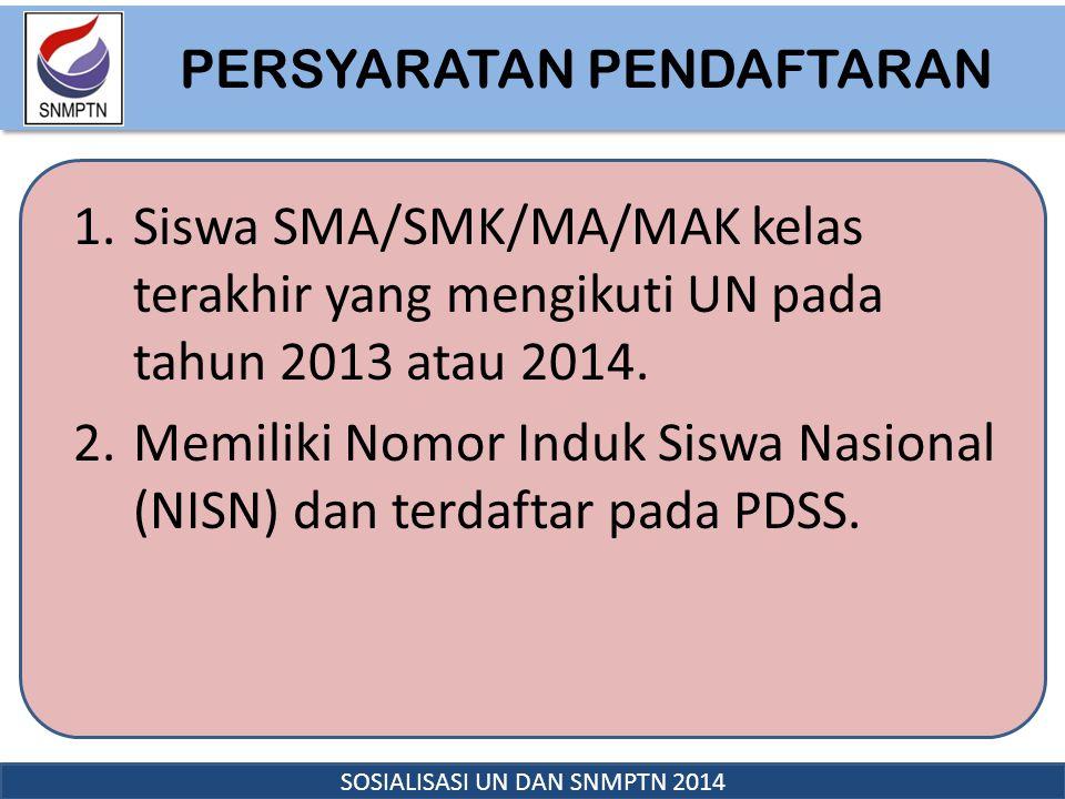 PERSYARATAN PENDAFTARAN PERSYARATAN PENDAFTARAN SOSIALISASI UN DAN SNMPTN 2014 1.Siswa SMA/SMK/MA/MAK kelas terakhir yang mengikuti UN pada tahun 2013