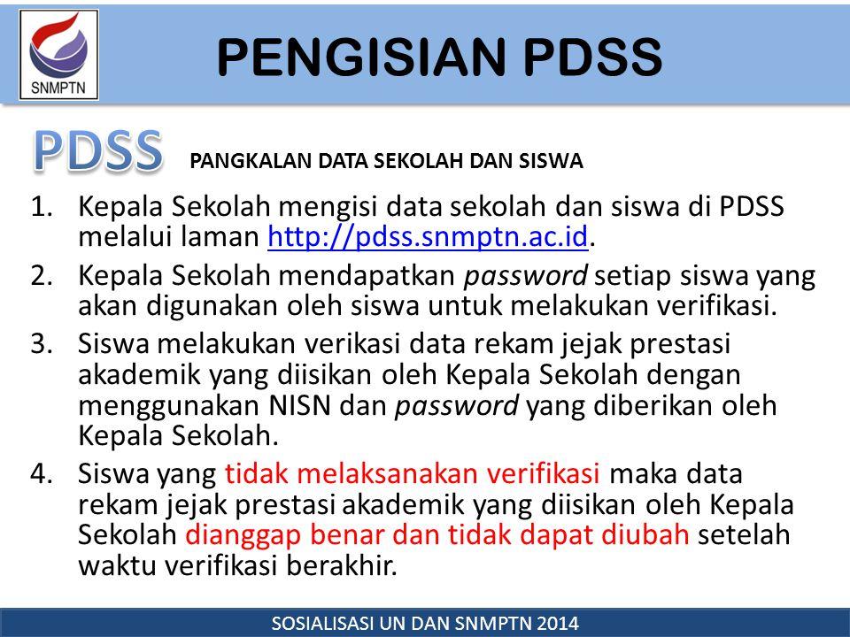 PENDAFTARAN SNMPTN 2014 SOSIALISASI UN DAN SNMPTN 2014 1.Siswa Pelamar, menggunakan NISN dan password yang diberikan oleh Kepala Sekolah pada waktu verifikasi data di PDSS, login ke laman SNMPTN http://snmptn.ac.id untuk melakukan pendaftaran.http://snmptn.ac.id 2.Siswa Pelamar mengisi biodata, pilihan PTN, dan pilihan program studi, serta mengunggah (upload) pasfoto resmi terbaru dan dokumen prestasi tambahan (jika ada).