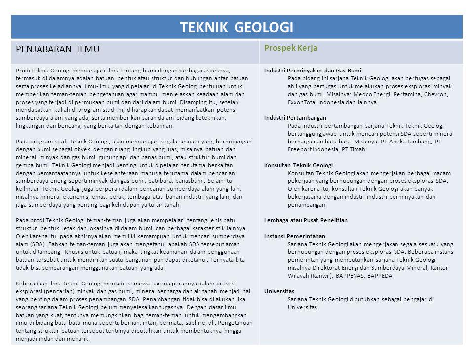 TEKNIK GEOLOGI PENJABARAN ILMU Prospek Kerja Prodi Teknik Geologi mempelajari ilmu tentang bumi dengan berbagai aspeknya, termasuk di dalamnya adalah batuan, bentuk atau struktur dan hubungan antar batuan serta proses kejadiannya.
