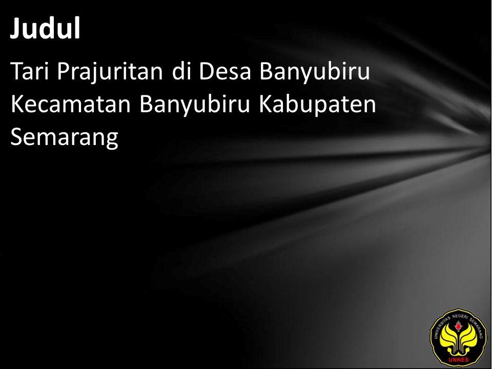 Judul Tari Prajuritan di Desa Banyubiru Kecamatan Banyubiru Kabupaten Semarang