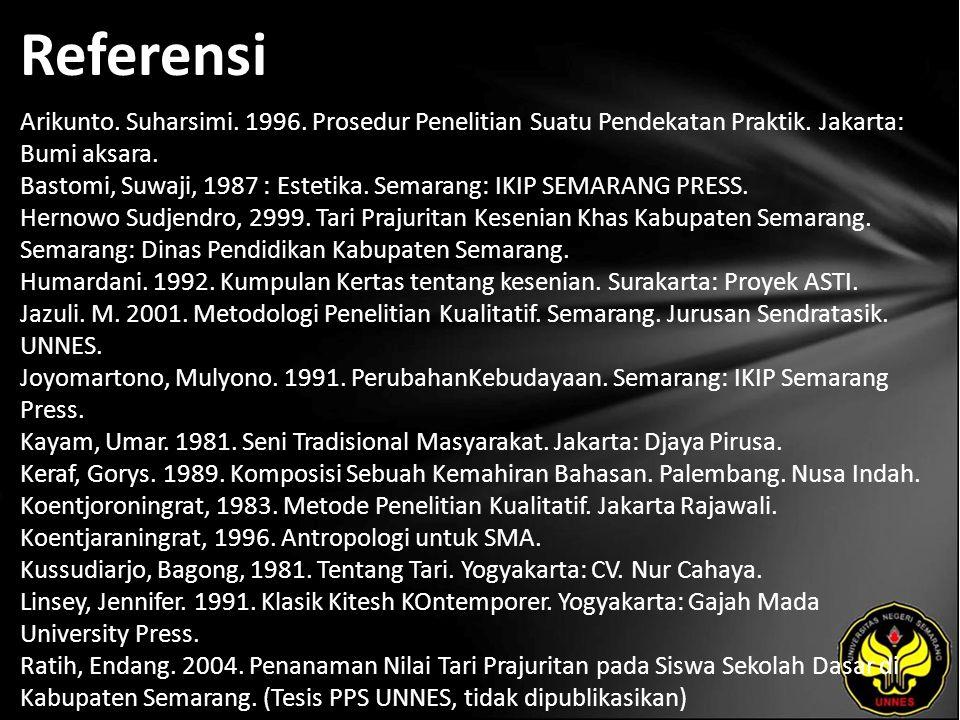Referensi Arikunto. Suharsimi. 1996. Prosedur Penelitian Suatu Pendekatan Praktik.