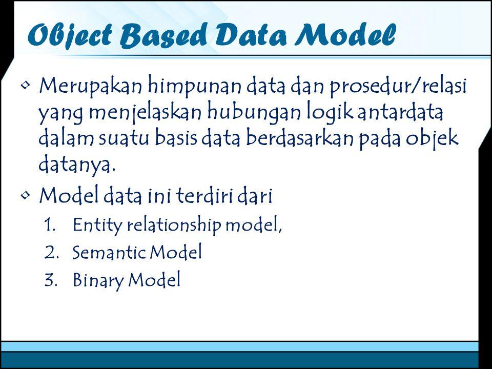 Object Based Data Model Merupakan himpunan data dan prosedur/relasi yang menjelaskan hubungan logik antardata dalam suatu basis data berdasarkan pada
