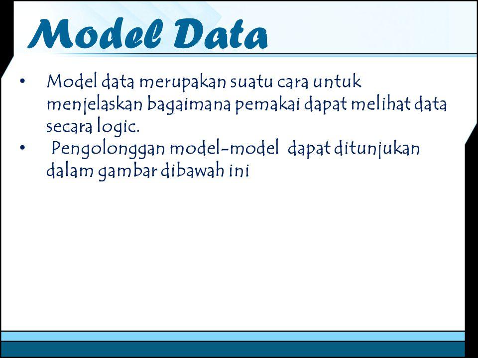 Model Data Model data merupakan suatu cara untuk menjelaskan bagaimana pemakai dapat melihat data secara logic. Pengolonggan model-model dapat ditunju