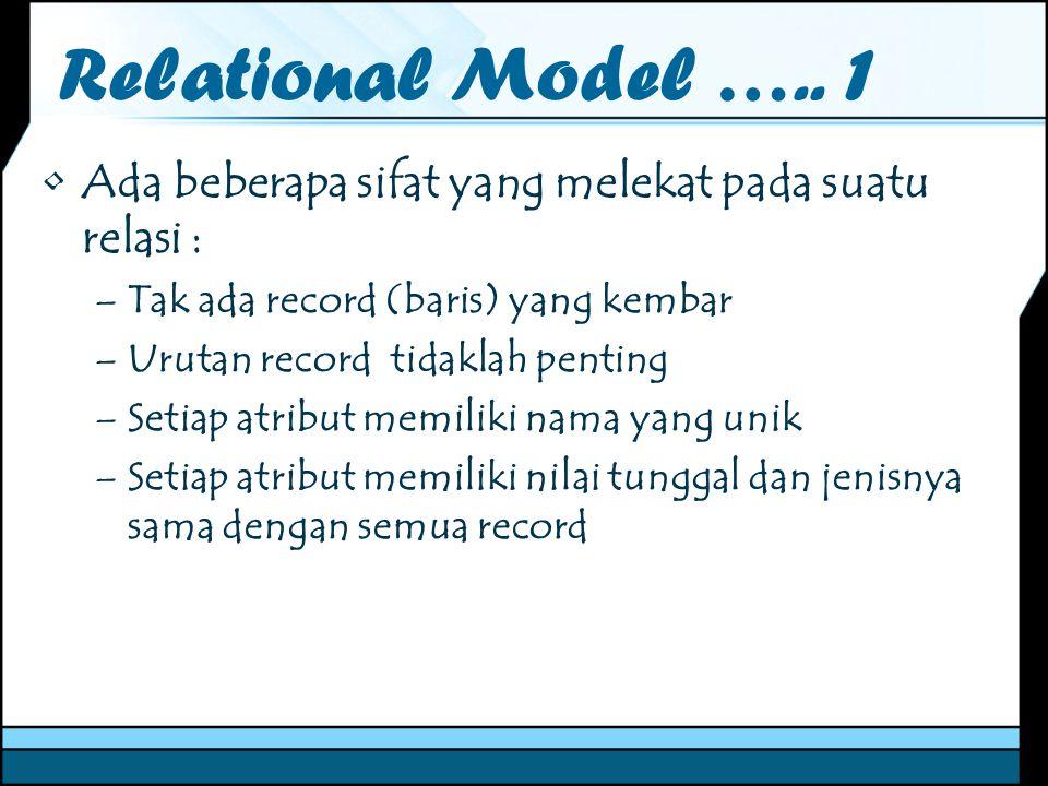 Relational Model ….. 1 Ada beberapa sifat yang melekat pada suatu relasi : –Tak ada record (baris) yang kembar –Urutan record tidaklah penting –Setiap