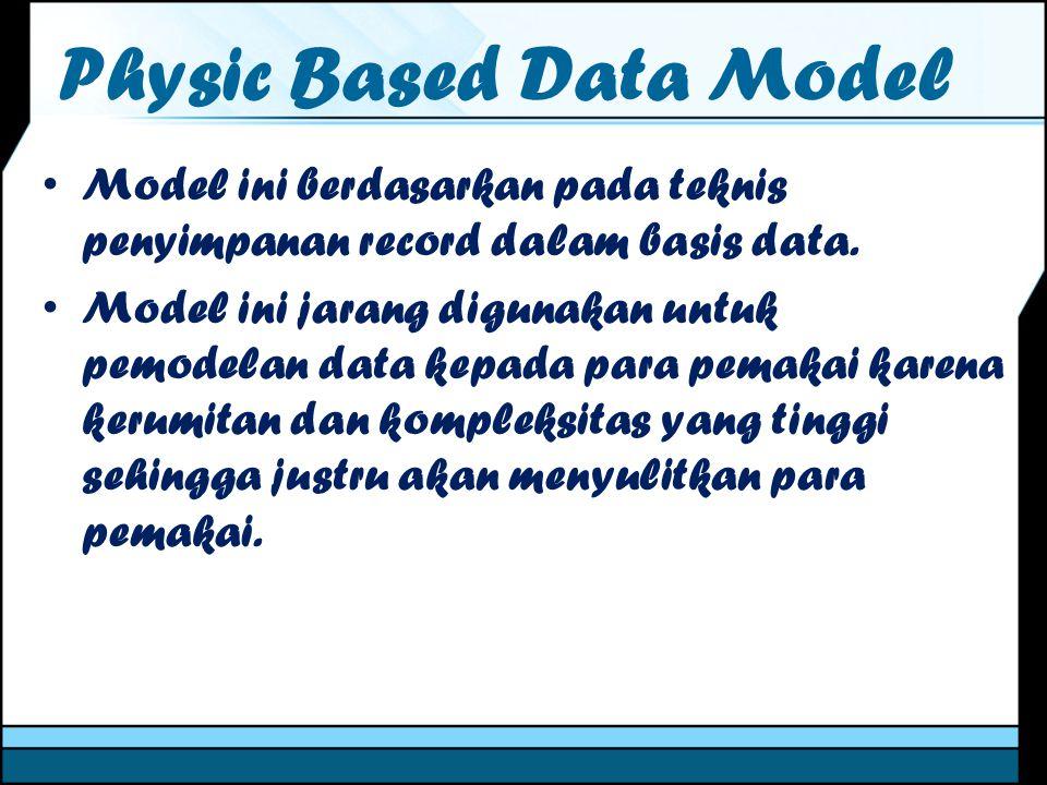 Physic Based Data Model Model ini berdasarkan pada teknis penyimpanan record dalam basis data. Model ini jarang digunakan untuk pemodelan data kepada