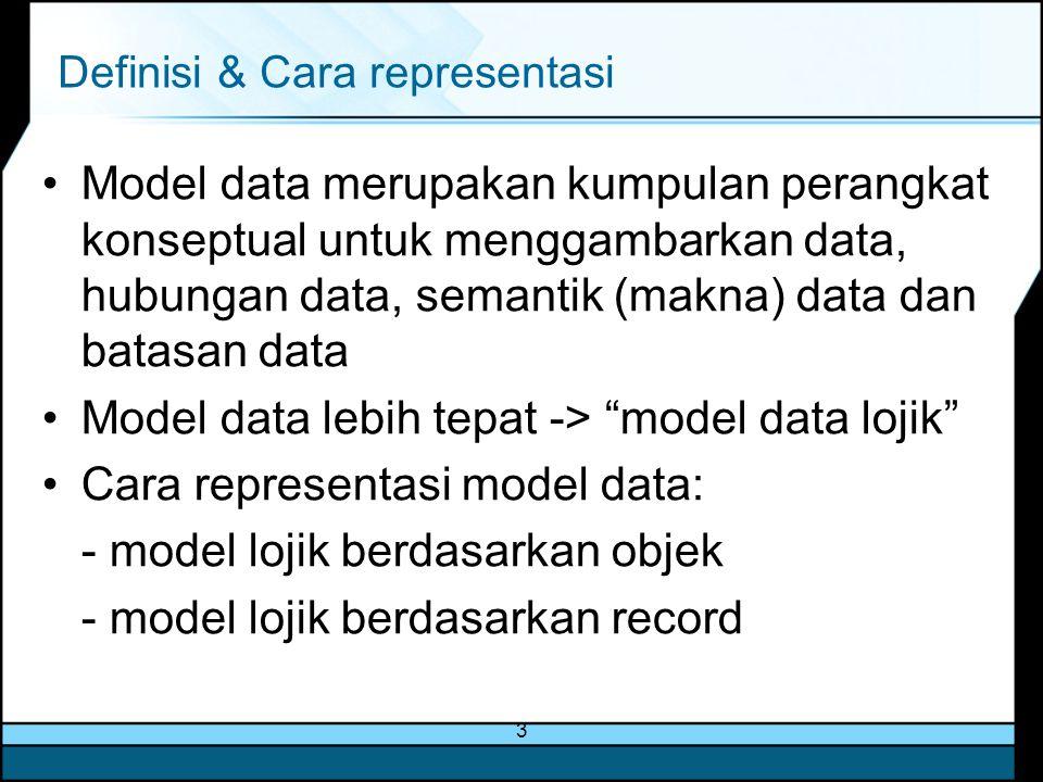 3 Definisi & Cara representasi Model data merupakan kumpulan perangkat konseptual untuk menggambarkan data, hubungan data, semantik (makna) data dan b